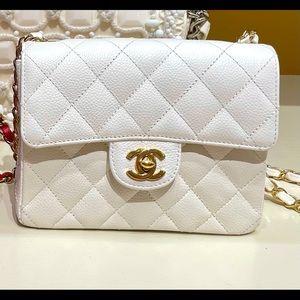 Chanel Ghw Vintage Caviar White Mini Flap Bag